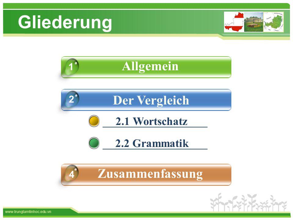 www.trungtamtinhoc.edu.vn Gliederung Allgemein Der Vergleich Das Spiel Zusammenfassung 4 1 2 2.1 Wortschatz 2.2 Grammatik
