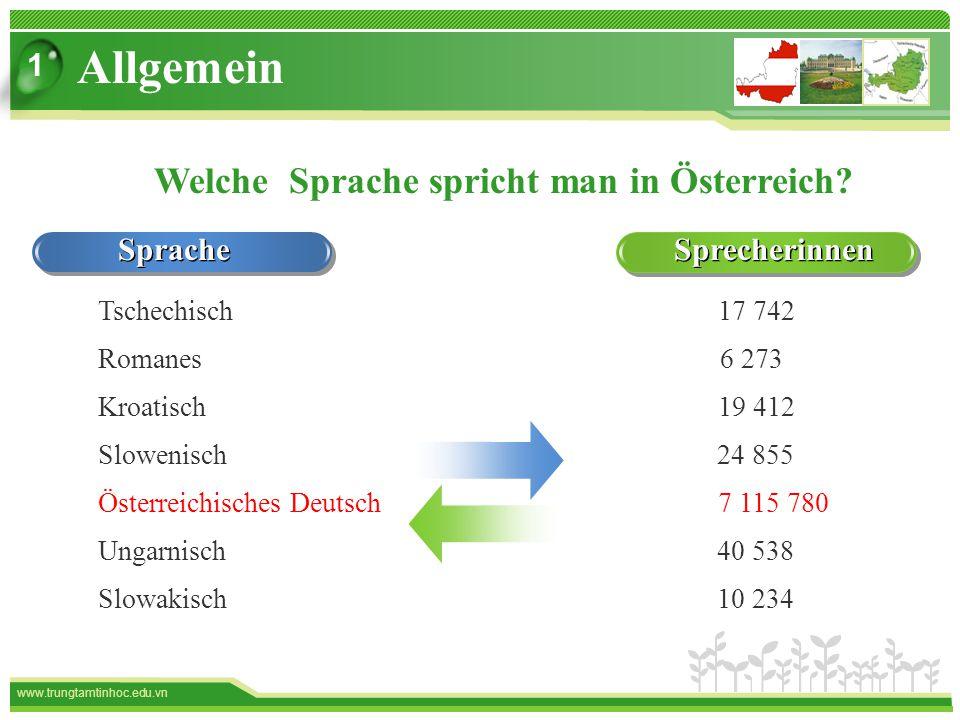 www.trungtamtinhoc.edu.vn Sprache Sprecherinnen Welche Sprache spricht man in Österreich.