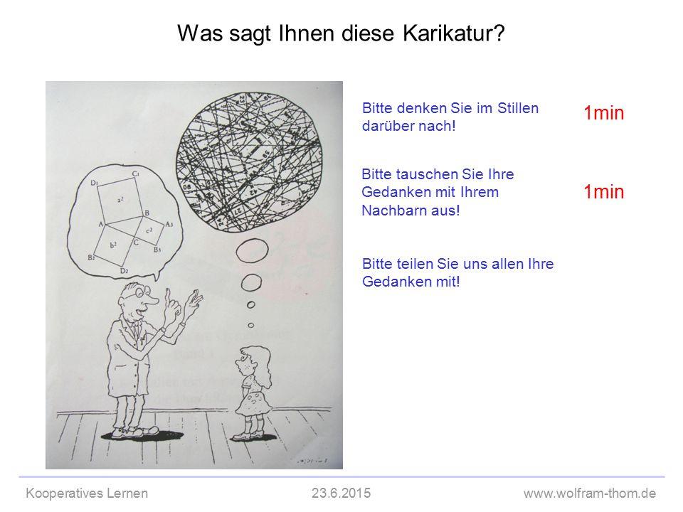 Kooperatives Lernen23.6.2015www.wolfram-thom.de Was sagt Ihnen diese Karikatur? Bitte denken Sie im Stillen darüber nach! Bitte tauschen Sie Ihre Geda