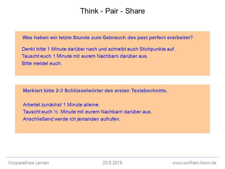 Kooperatives Lernen23.6.2015www.wolfram-thom.de Markiert bitte 2-3 Schlüsselwörter des ersten Textabschnitts. Arbeitet zunächst 1 Minute alleine. Taus
