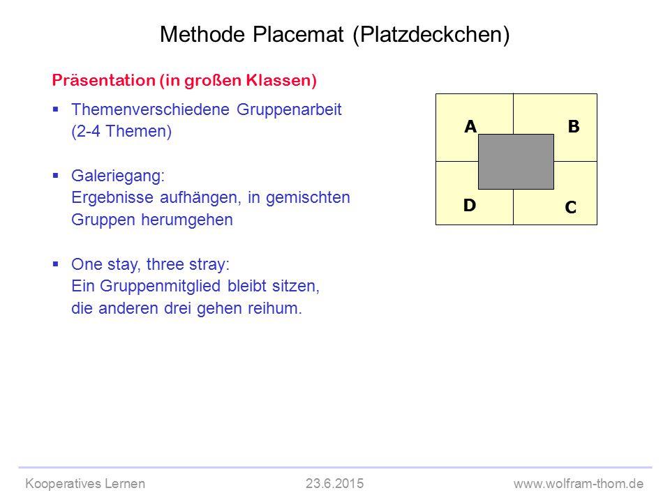 Kooperatives Lernen23.6.2015www.wolfram-thom.de Präsentation (in großen Klassen)  Themenverschiedene Gruppenarbeit (2-4 Themen)  Galeriegang: Ergebn