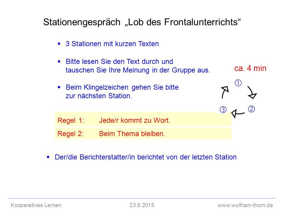 """Kooperatives Lernen23.6.2015www.wolfram-thom.de  3 Stationen mit kurzen Texten Stationengespräch """"Lob des Frontalunterrichts""""  Bitte lesen Sie den T"""