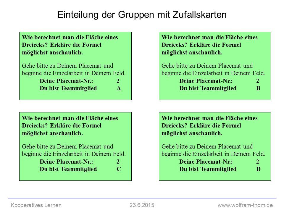 Kooperatives Lernen23.6.2015www.wolfram-thom.de Einteilung der Gruppen mit Zufallskarten Wie berechnet man die Fläche eines Dreiecks? Erkläre die Form