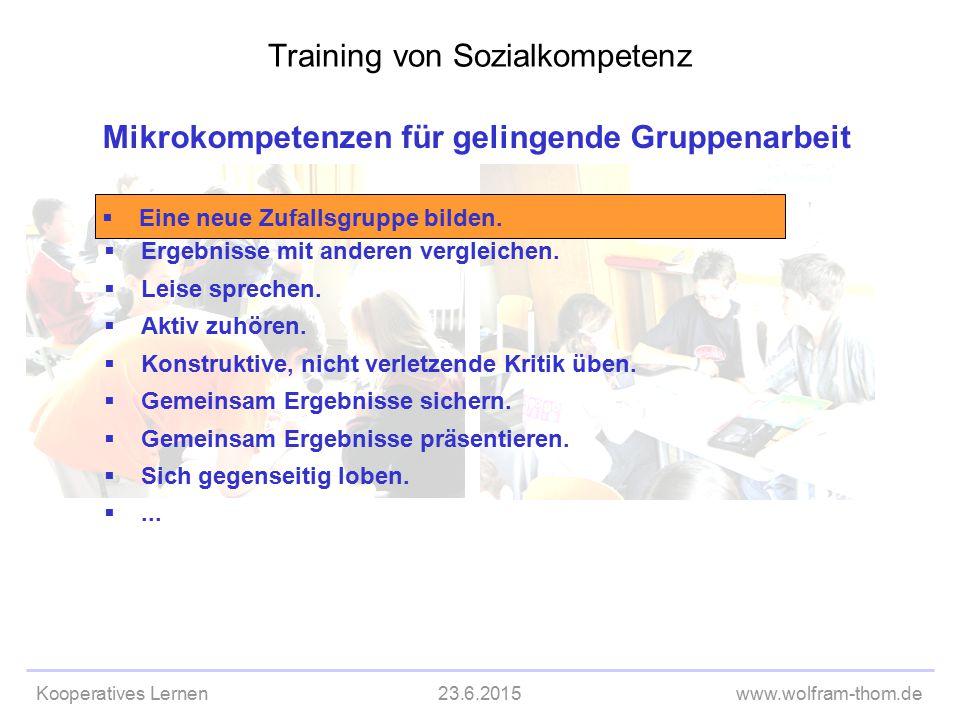 Kooperatives Lernen23.6.2015www.wolfram-thom.de Mikrokompetenzen für gelingende Gruppenarbeit  Ergebnisse mit anderen vergleichen.  Leise sprechen.