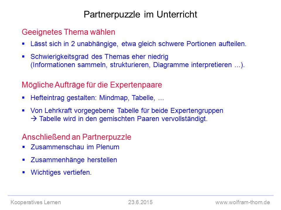 Kooperatives Lernen23.6.2015www.wolfram-thom.de Geeignetes Thema wählen  Lässt sich in 2 unabhängige, etwa gleich schwere Portionen aufteilen.  Schw