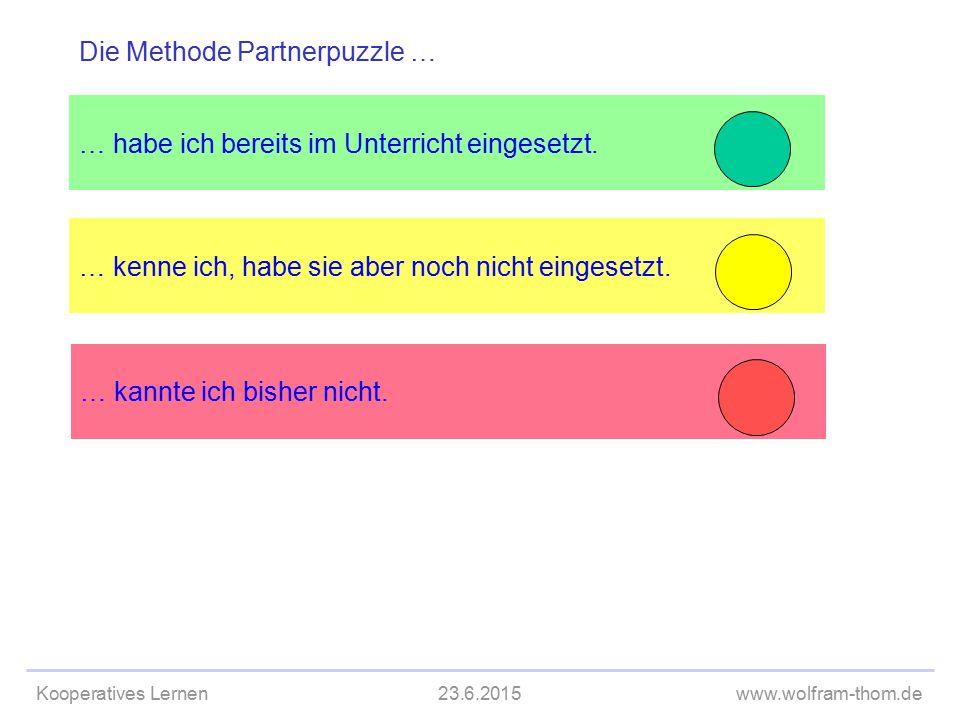 Kooperatives Lernen23.6.2015www.wolfram-thom.de … kenne ich, habe sie aber noch nicht eingesetzt. … habe ich bereits im Unterricht eingesetzt. Die Met