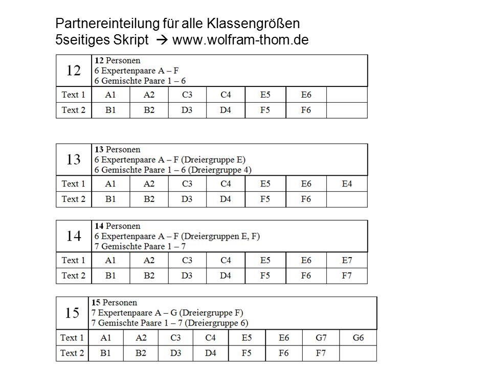 Partnereinteilung für alle Klassengrößen 5seitiges Skript  www.wolfram-thom.de