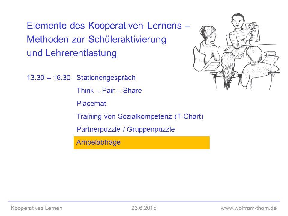 Kooperatives Lernen23.6.2015www.wolfram-thom.de Elemente des Kooperativen Lernens – Methoden zur Schüleraktivierung und Lehrerentlastung 13.30 – 16.30