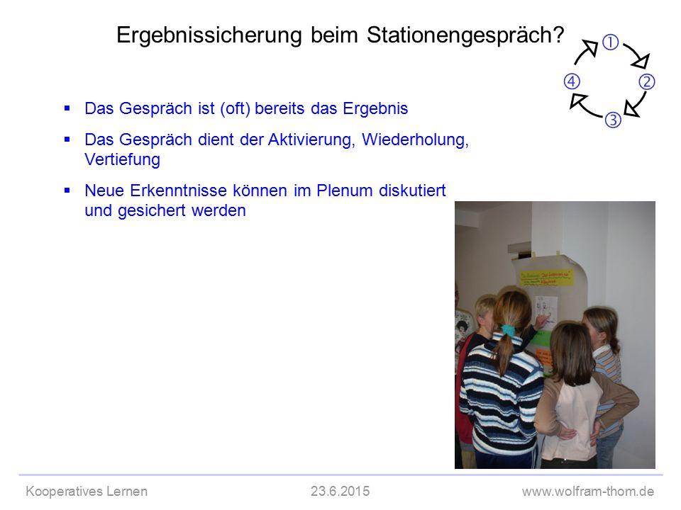 Kooperatives Lernen23.6.2015www.wolfram-thom.de  Das Gespräch ist (oft) bereits das Ergebnis  Das Gespräch dient der Aktivierung, Wiederholung, Vert