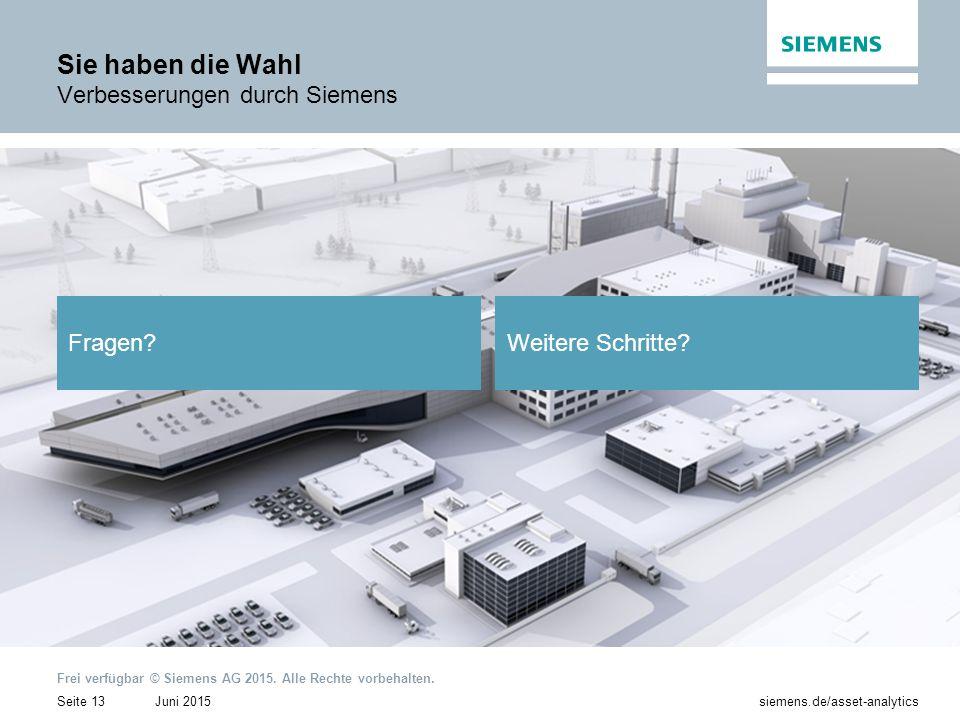 Juni 2015 Frei verfügbar © Siemens AG 2015.Alle Rechte vorbehalten.