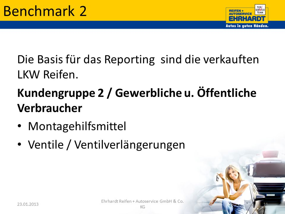 Benchmark 2 Die Basis für das Reporting sind die verkauften LKW Reifen. Kundengruppe 2 / Gewerbliche u. Öffentliche Verbraucher Montagehilfsmittel Ven