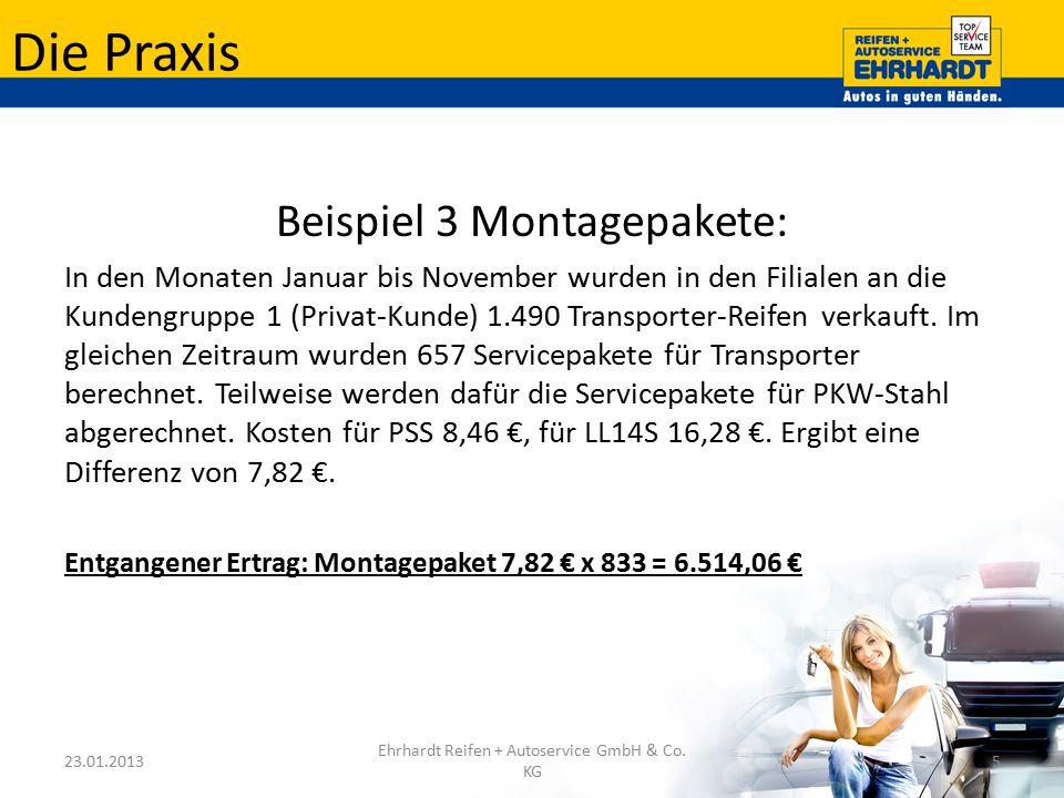 Die Praxis Beispiel 3 Montagepakete: In den Monaten Januar bis November wurden in den Filialen an die Kundengruppe 1 (Privat-Kunde) 1.490 Transporter-