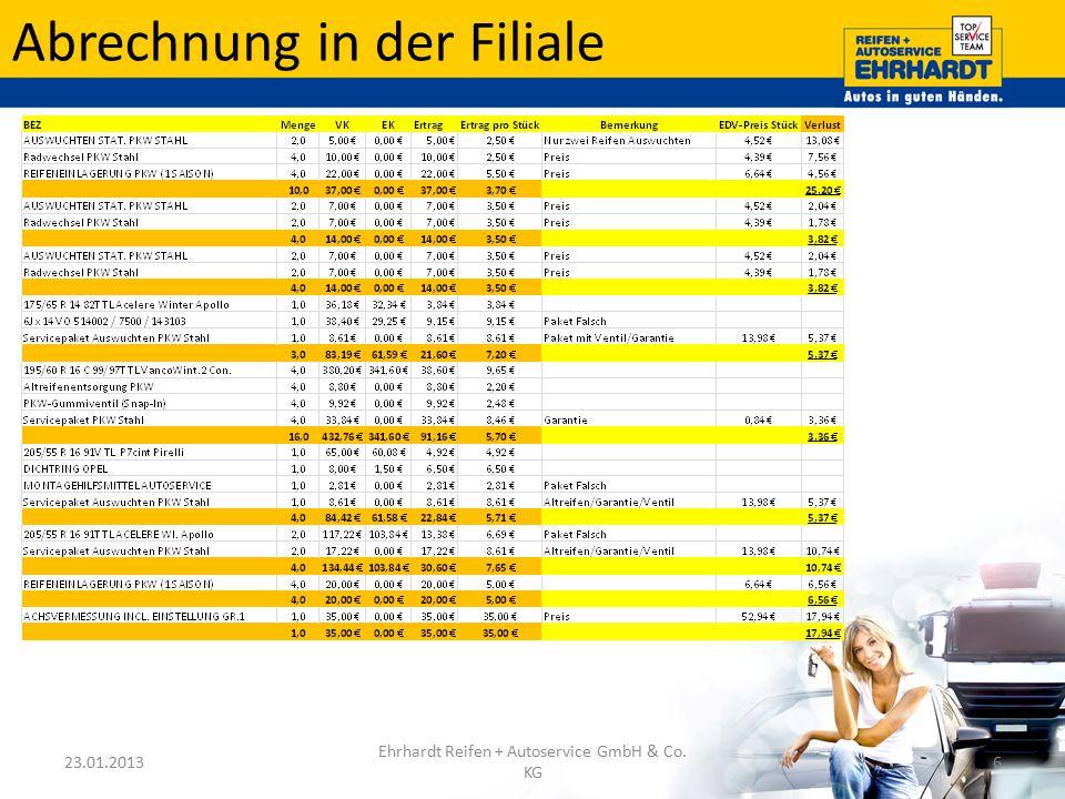Abrechnung in der Filiale 23.01.2013 Ehrhardt Reifen + Autoservice GmbH & Co. KG 6