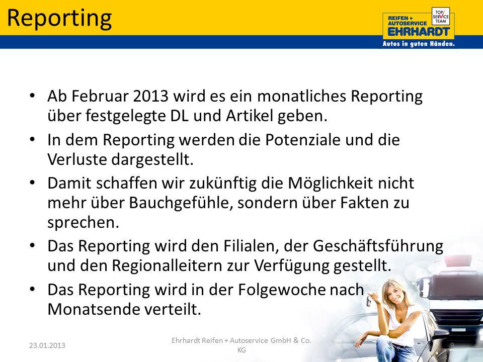 Reporting Ab Februar 2013 wird es ein monatliches Reporting über festgelegte DL und Artikel geben. In dem Reporting werden die Potenziale und die Verl
