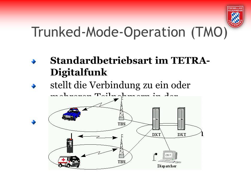 Trunked-Mode-Operation (TMO) Standardbetriebsart im TETRA- Digitalfunk stellt die Verbindung zu ein oder mehreren Teilnehmern in der Netzinfrastruktur her es können alle TETRA- Leistungsmerkmale genutzt werden