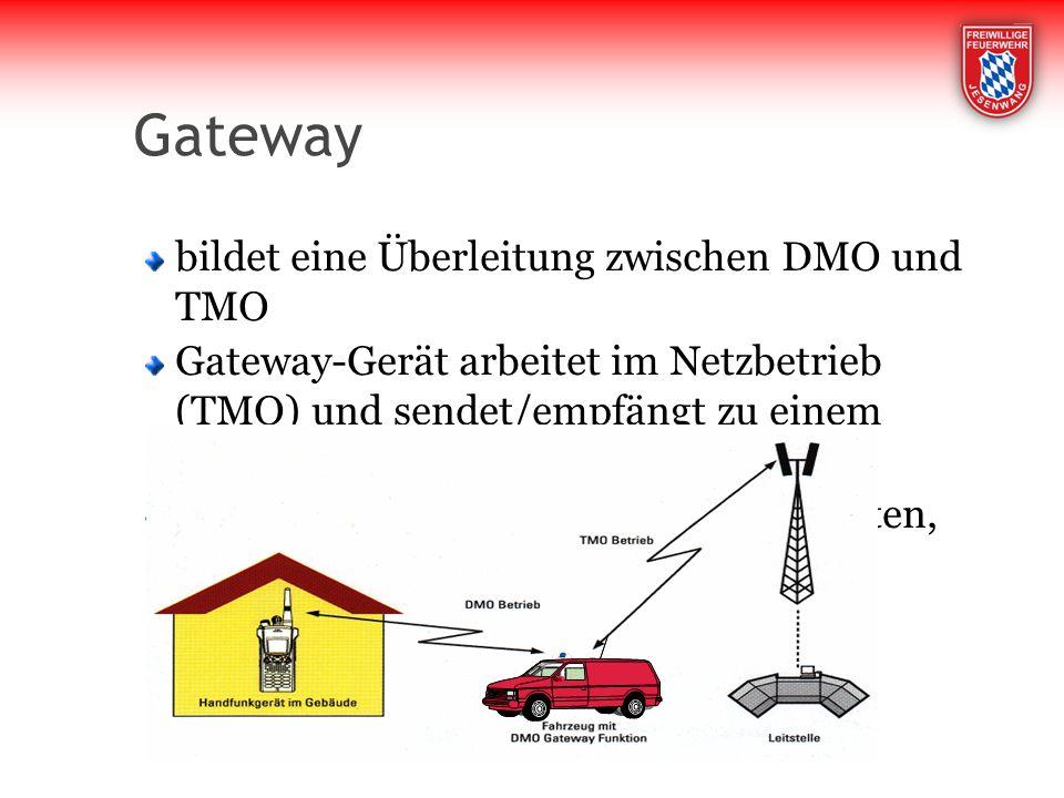 Gateway bildet eine Überleitung zwischen DMO und TMO Gateway-Gerät arbeitet im Netzbetrieb (TMO) und sendet/empfängt zu einem Gerät ohne Netzempfang (DMO) Ist ein Funkgerät auf Gateway geschalten, kann es nicht mehr direkt besprochen werden.