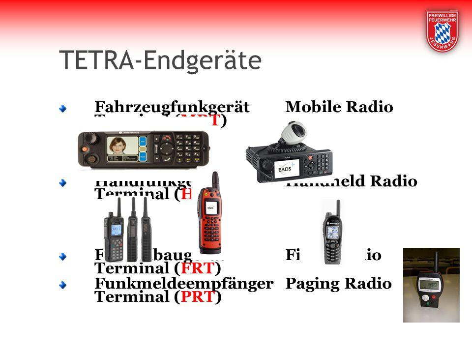 TETRA-Endgeräte FahrzeugfunkgerätMobile Radio Terminal (MRT) HandfunkgerätHandheld Radio Terminal (HRT) FesteinbaugerätFixed Radio Terminal (FRT) Funkmeldeempfänger Paging Radio Terminal (PRT)