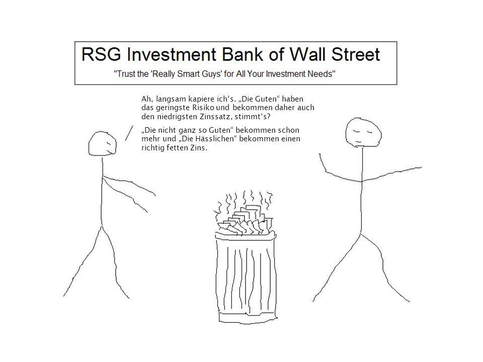 """Ah, langsam kapiere ich's. """"Die Guten"""" haben das geringste Risiko und bekommen daher auch den niedrigsten Zinssatz, stimmt's? """"Die nicht ganz so Guten"""