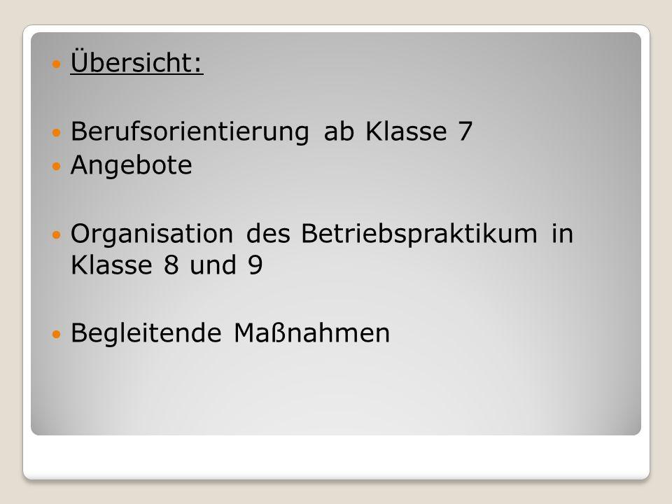 Berufsvorbereitung im Wahlpflichtunterricht (Auswahl) 7: HolzwerkstattSchulgarten EDV 8: Marktstand Schülerfirma 9: Techn.