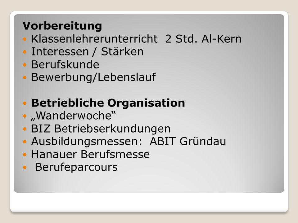 """Vorbereitung Klassenlehrerunterricht 2 Std. Al-Kern Interessen / Stärken Berufskunde Bewerbung/Lebenslauf Betriebliche Organisation """"Wanderwoche"""" BIZ"""