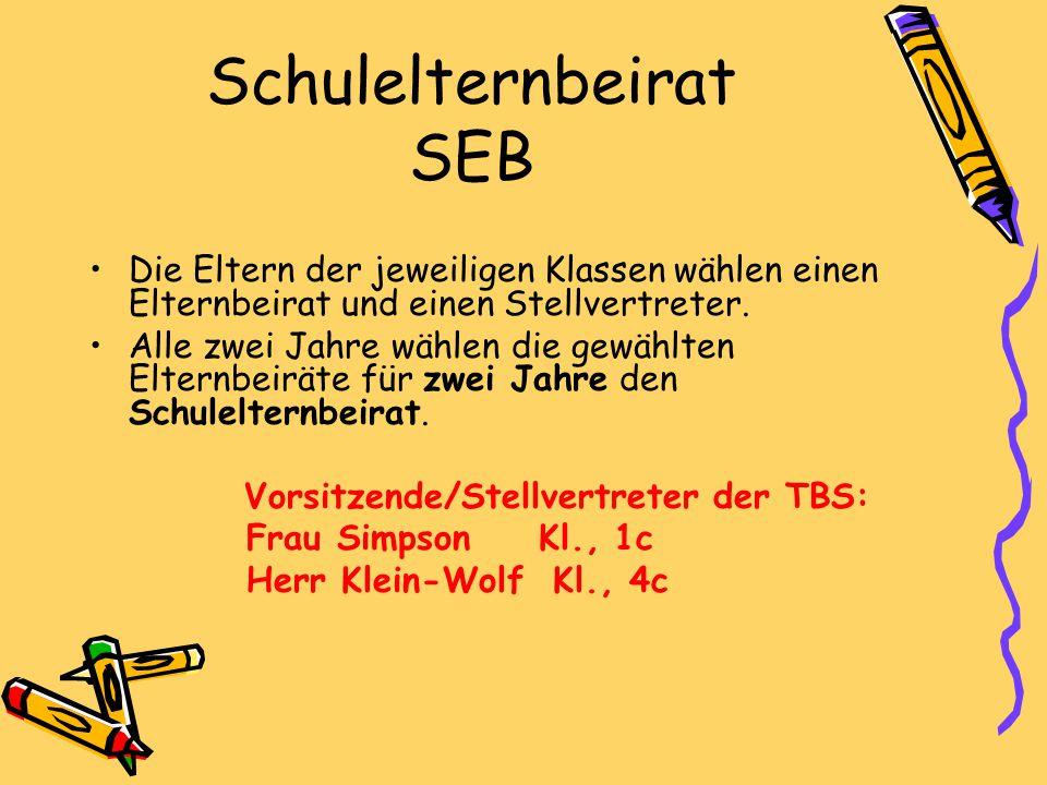 Schulelternbeirat SEB Die Eltern der jeweiligen Klassen wählen einen Elternbeirat und einen Stellvertreter. Alle zwei Jahre wählen die gewählten Elter