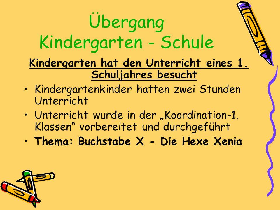 Übergang Kindergarten - Schule Kindergarten hat den Unterricht eines 1. Schuljahres besucht Kindergartenkinder hatten zwei Stunden Unterricht Unterric