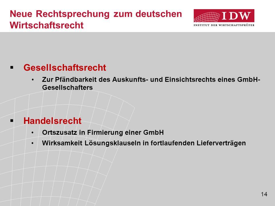 14 Neue Rechtsprechung zum deutschen Wirtschaftsrecht  Gesellschaftsrecht Zur Pfändbarkeit des Auskunfts- und Einsichtsrechts eines GmbH- Gesellschaf