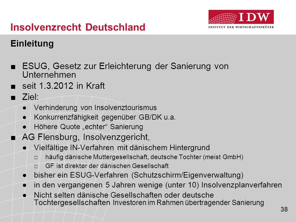 38 Insolvenzrecht Deutschland Einleitung ■ESUG, Gesetz zur Erleichterung der Sanierung von Unternehmen ■seit 1.3.2012 in Kraft ■Ziel: ●Verhinderung vo