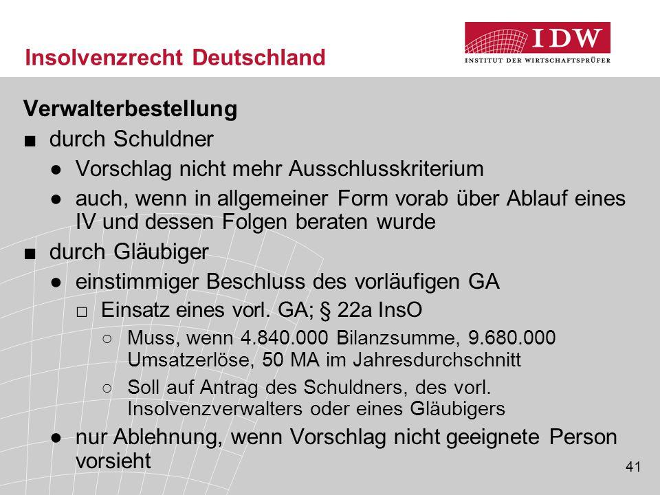 41 Insolvenzrecht Deutschland Verwalterbestellung ■durch Schuldner ●Vorschlag nicht mehr Ausschlusskriterium ●auch, wenn in allgemeiner Form vorab übe