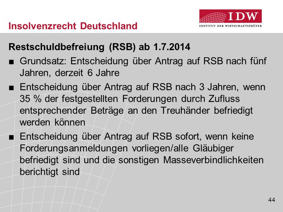 44 Insolvenzrecht Deutschland Restschuldbefreiung (RSB) ab 1.7.2014 ■Grundsatz: Entscheidung über Antrag auf RSB nach fünf Jahren, derzeit 6 Jahre ■En