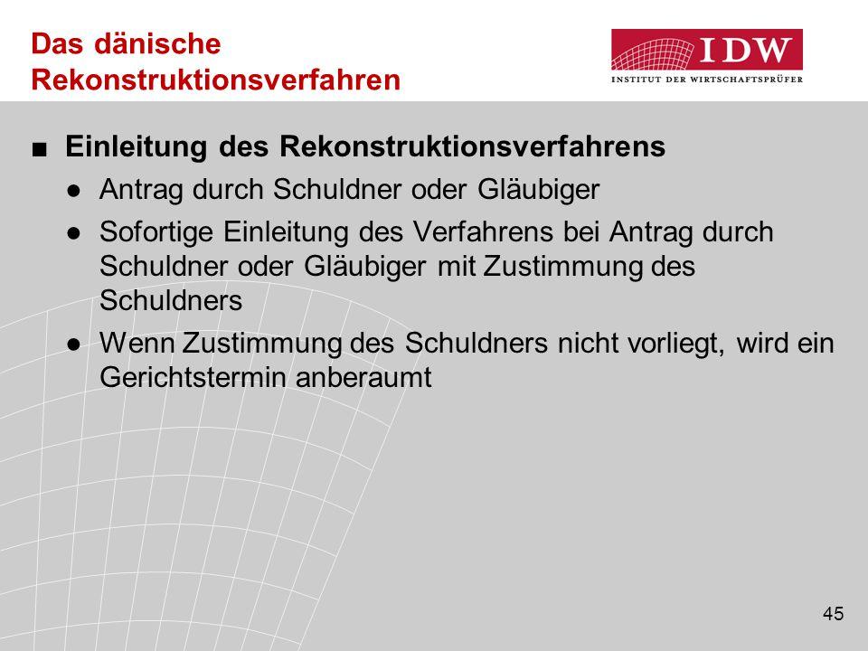 45 Das dänische Rekonstruktionsverfahren ■Einleitung des Rekonstruktionsverfahrens ●Antrag durch Schuldner oder Gläubiger ●Sofortige Einleitung des Ve