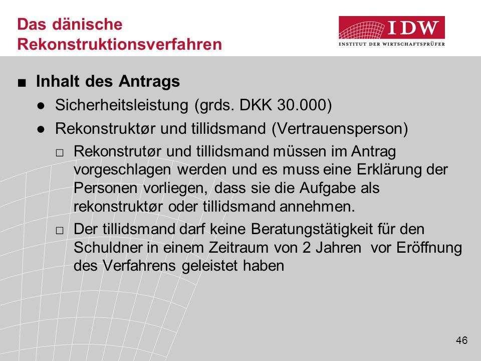 46 Das dänische Rekonstruktionsverfahren ■Inhalt des Antrags ●Sicherheitsleistung (grds. DKK 30.000) ●Rekonstruktør und tillidsmand (Vertrauensperson)