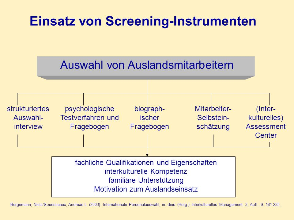Einsatz von Screening-Instrumenten Auswahl von Auslandsmitarbeitern strukturiertes Auswahl- interview psychologische Testverfahren und Fragebogen biog
