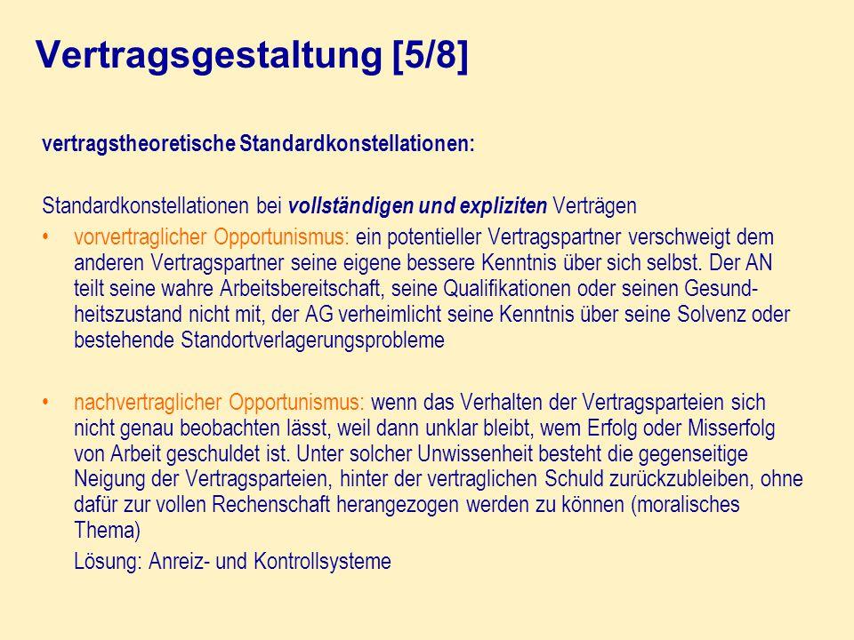 vertragstheoretische Standardkonstellationen: Standardkonstellationen bei vollständigen und expliziten Verträgen vorvertraglicher Opportunismus: ein p