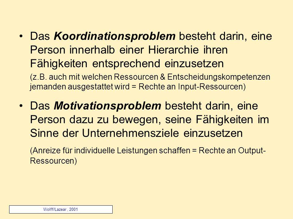 Das Koordinationsproblem besteht darin, eine Person innerhalb einer Hierarchie ihren Fähigkeiten entsprechend einzusetzen (z.B.