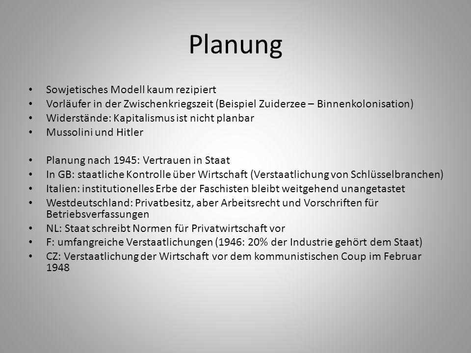 Planung Sowjetisches Modell kaum rezipiert Vorläufer in der Zwischenkriegszeit (Beispiel Zuiderzee – Binnenkolonisation) Widerstände: Kapitalismus ist