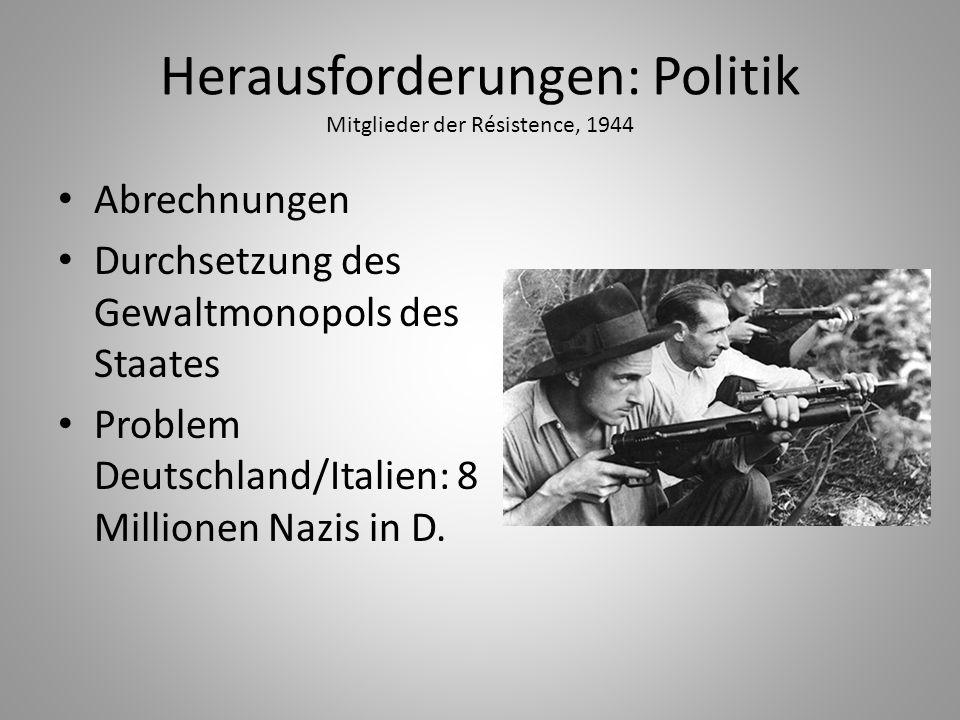 Herausforderungen: Politik Mitglieder der Résistence, 1944 Abrechnungen Durchsetzung des Gewaltmonopols des Staates Problem Deutschland/Italien: 8 Mil