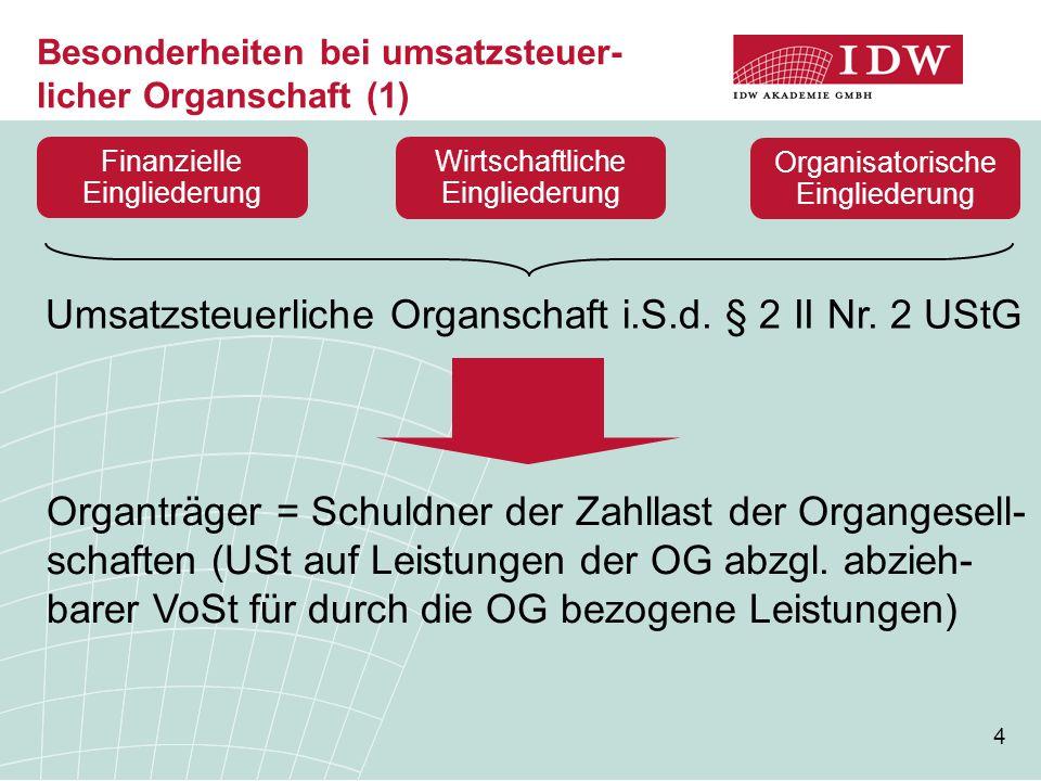 4 Besonderheiten bei umsatzsteuer- licher Organschaft (1) Umsatzsteuerliche Organschaft i.S.d.