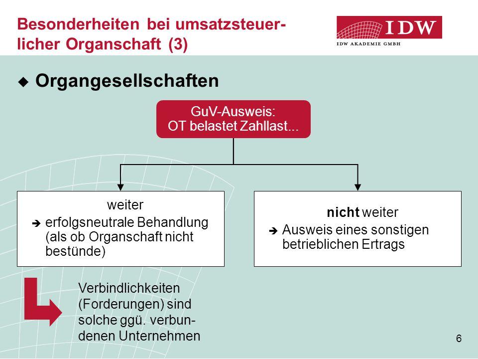 6 Besonderheiten bei umsatzsteuer- licher Organschaft (3)  Organgesellschaften GuV-Ausweis: OT belastet Zahllast...