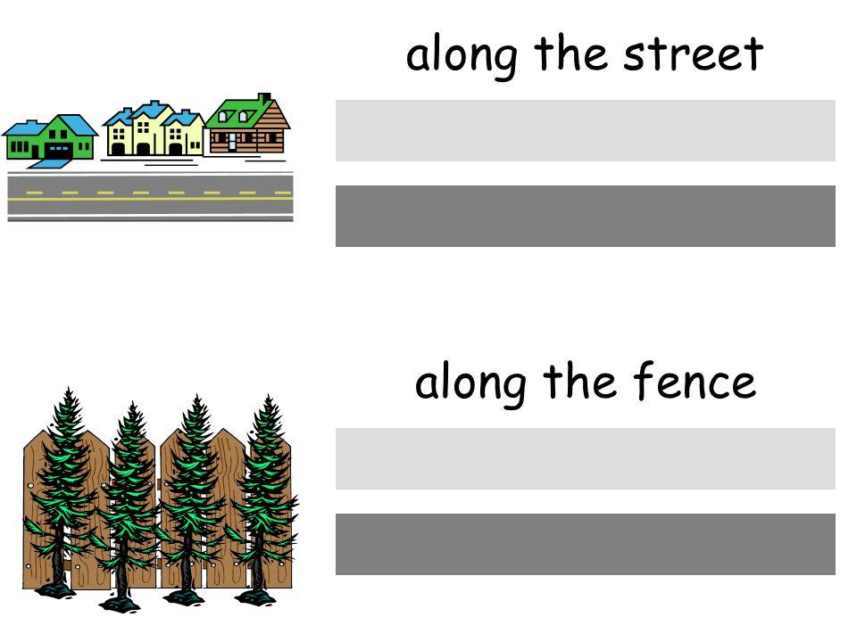 die Straβe entlang along the street den Zaun entlang along the fence