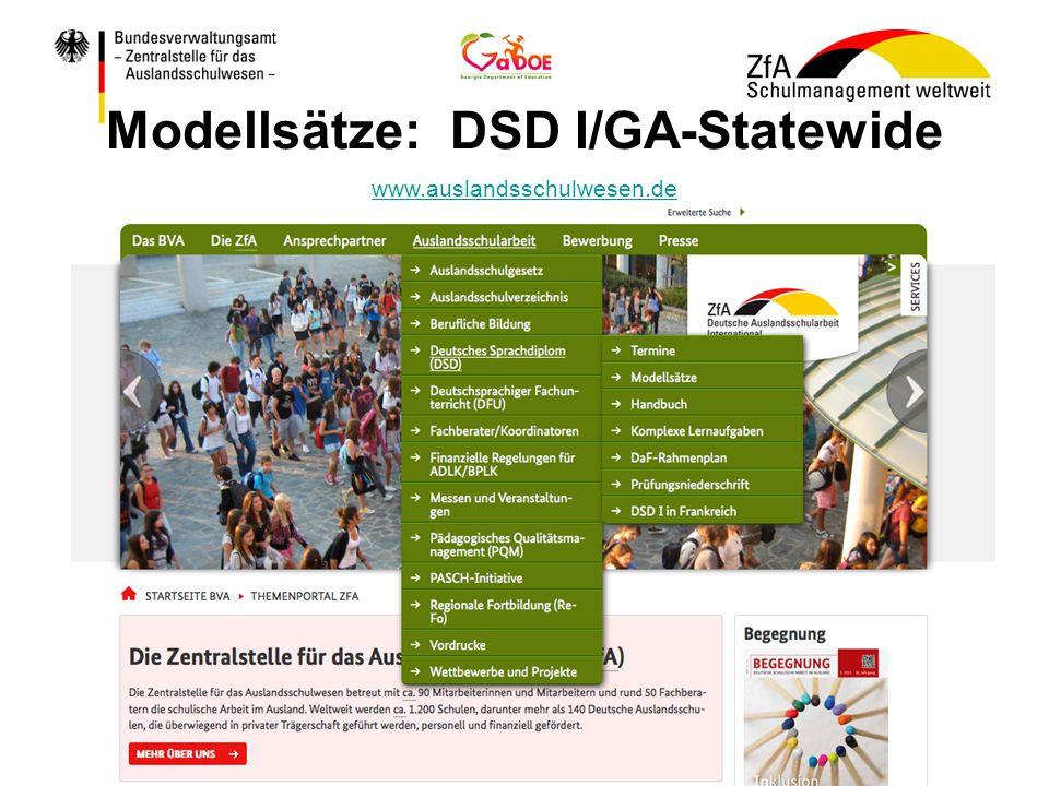 Modellsätze: DSD I/GA-Statewide www.auslandsschulwesen.de