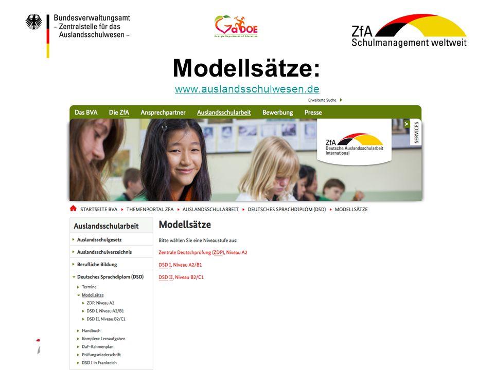 Modellsätze: www.auslandsschulwesen.de www.auslandsschulwesen.de