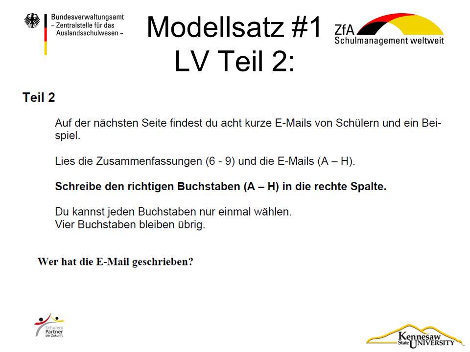 Modellsatz #1 LV Teil 2: