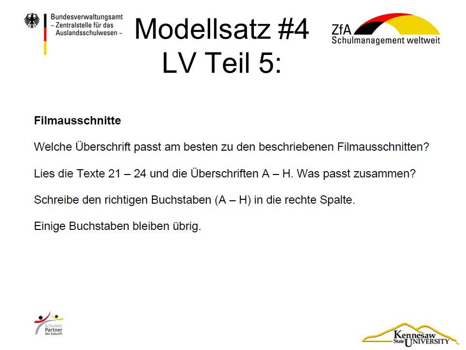 Modellsatz #4 LV Teil 5: