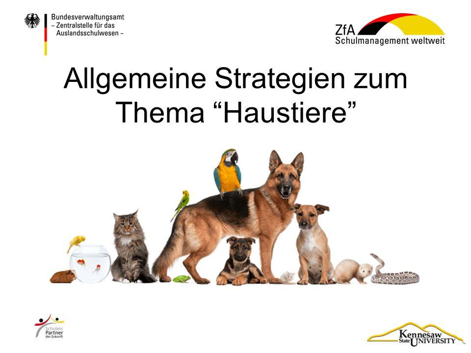 """Allgemeine Strategien zum Thema """"Haustiere"""""""