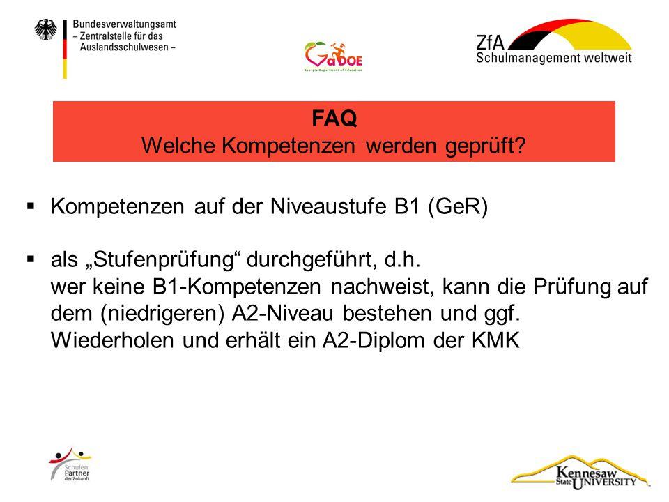 """ Kompetenzen auf der Niveaustufe B1 (GeR)  als """"Stufenprüfung"""" durchgeführt, d.h. wer keine B1-Kompetenzen nachweist, kann die Prüfung auf dem (nied"""