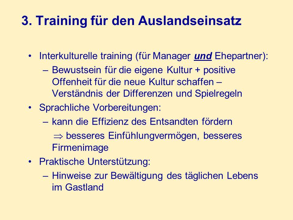 3. Training für den Auslandseinsatz Interkulturelle training (für Manager und Ehepartner): –Bewustsein für die eigene Kultur + positive Offenheit für