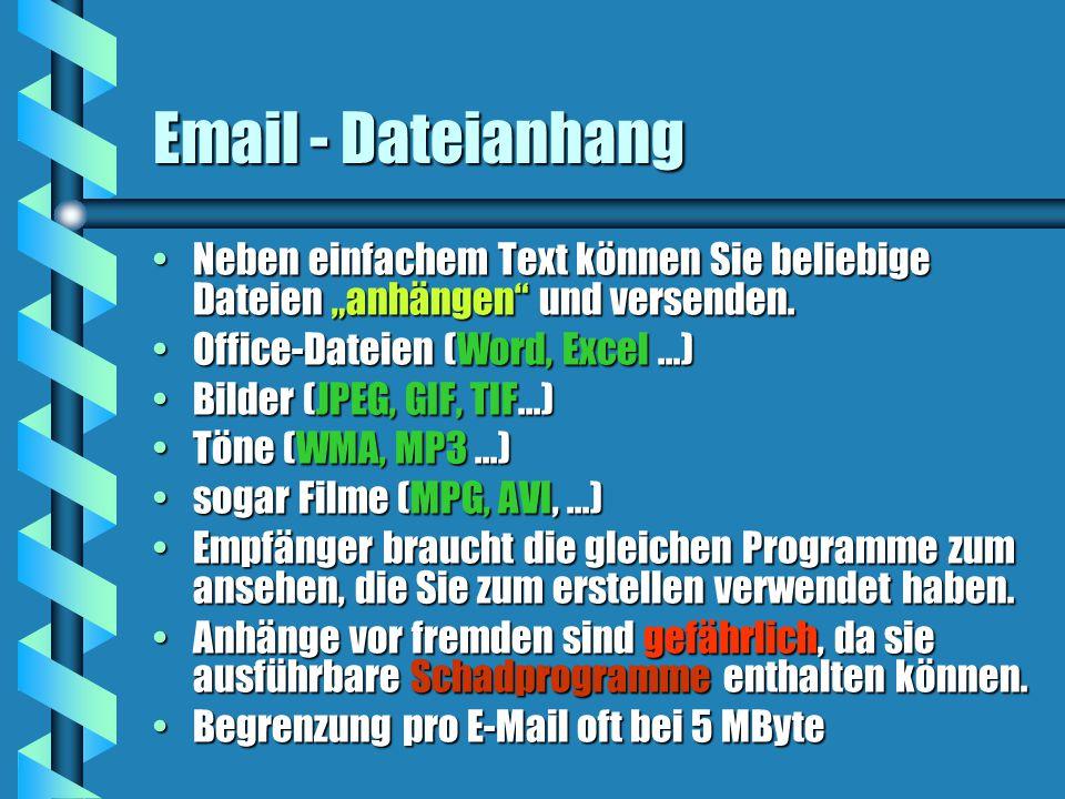 """Email - Dateianhang Neben einfachem Text können Sie beliebige Dateien """"anhängen und versenden.Neben einfachem Text können Sie beliebige Dateien """"anhängen und versenden."""