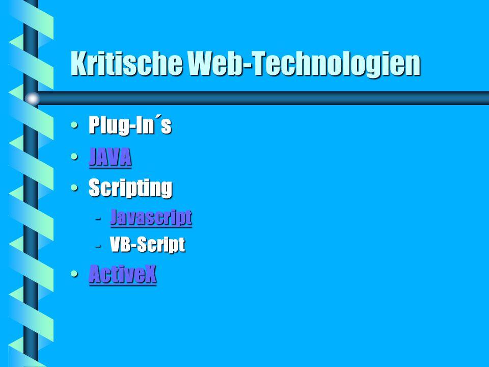 Kritische Web-Technologien Plug-In´sPlug-In´s JAVAJAVAJAVA ScriptingScripting -Javascript Javascript -VB-Script ActiveXActiveXActiveX