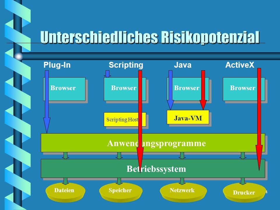 Unterschiedliches Risikopotenzial 24 Betriebssystem DateienSpeicherNetzwerk Drucker Anwendungsprogramme Browser Plug-InScriptingJavaActiveX Java-VM Scripting Host